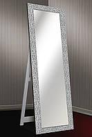 Зеркало напольное factura в Итальянском дереве с опорной деревянной подставкой 60х174 см серебрянное