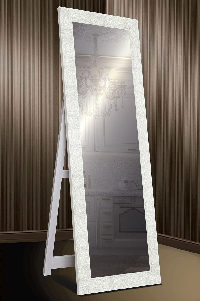 Зеркало напольное factura в Итальянском дереве с опорной деревянной подставкой 60х174 см белое