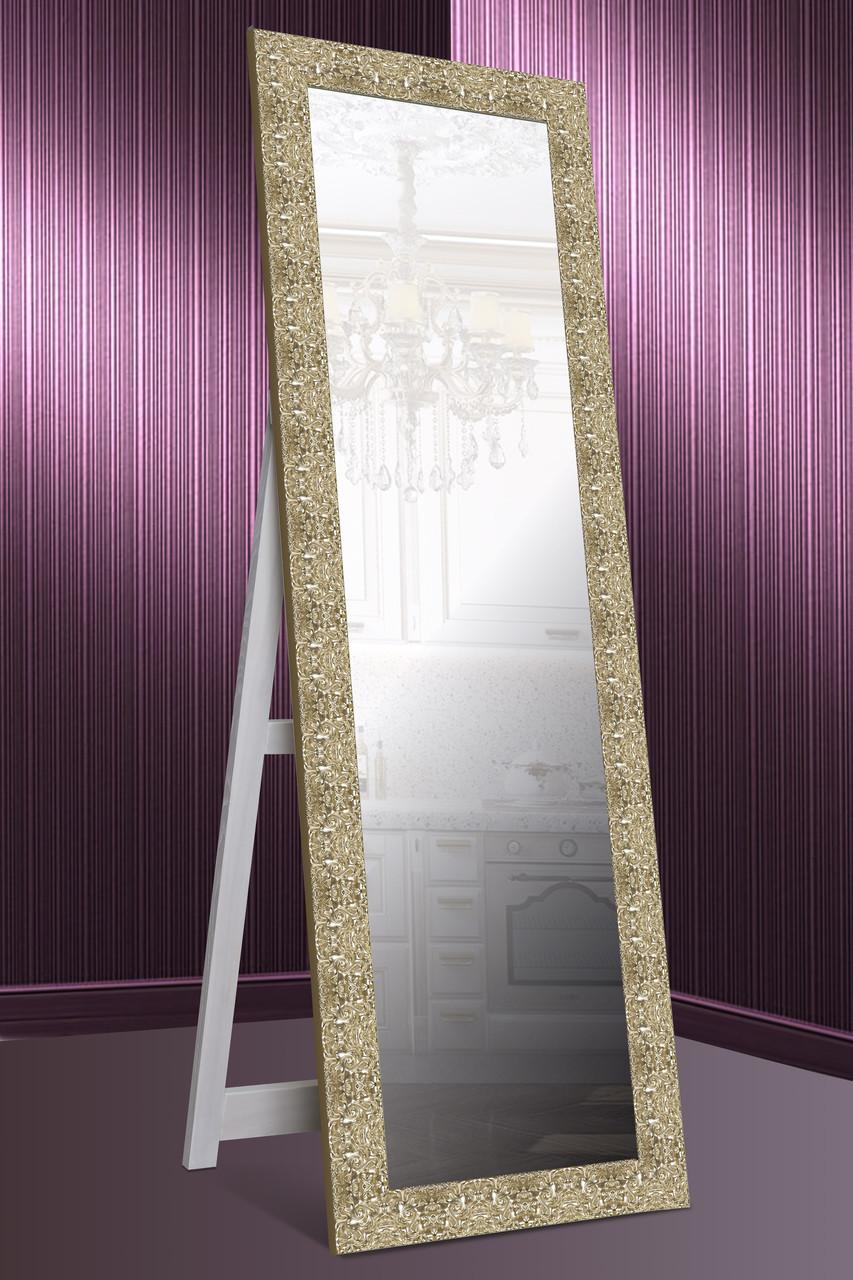 Зеркало напольное factura в Итальянском дереве с опорной деревянной подставкой 60х174 см золото