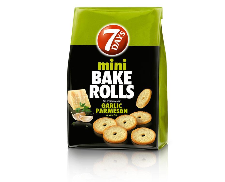 Хрустящие хлебные кольца Мини Bake Rolls  с чесноком пармезаном и травами 80г