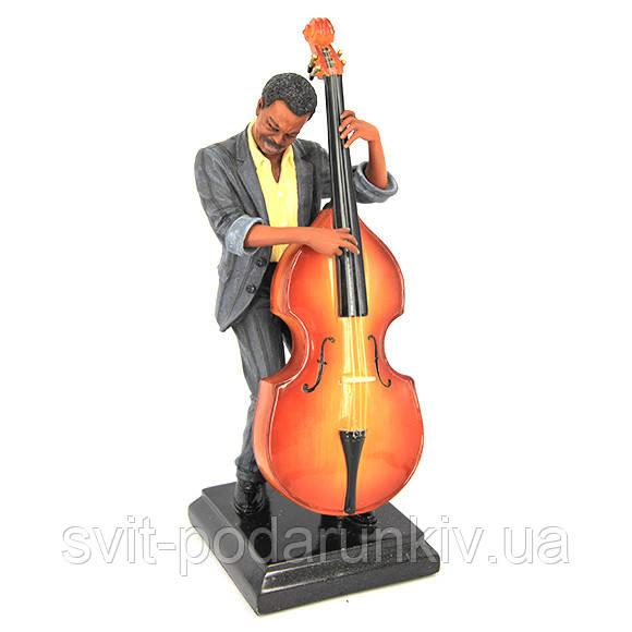 Статуэтка блюз музыканта с контрабасом в полосатом костюме S537