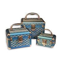 Шкатулки для косметики и украшений голубой ромб 3 шт S8138