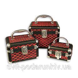 Шкатулки для рукоделия черно-красный ромб 3 шт S8139
