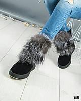 Ботинки женские с мехом черные