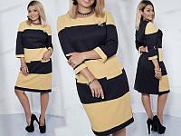 Платье женское короткое комбинированое с брошью P10425, фото 1