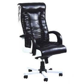 Кресло Кинг Люкс MB белый, лаки черный/белый, вышивка Elite (AMF-ТМ)