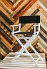 Складной стул визажный, стул барный белый, ткань чёрная, фото 3