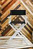 Складной стул визажный, стул барный белый, ткань чёрная, фото 2