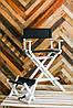 Складной стул визажный, стул барный белый, ткань чёрная, фото 4