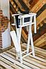 Складной стул визажный, стул барный белый, ткань чёрная, фото 5