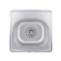 Кухонная мойка стальная ULA квадратная (380x380 мм), микротекстура, сталь 0,8 мм (ULA7706DEC08)