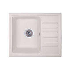 Кухонная гранитная мойка Fosto прямоугольная (550x460 мм), одночашевая, цвет метель (FOS5546SGA203)
