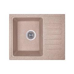 Кухонная гранитная мойка Fosto прямоугольная (550x462 мм), одночашевая, цвет песок (FOS5546SGA300)