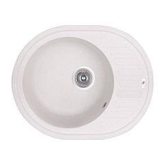 Кухонная гранитная мойка  овальная (620x500 мм), одночашевая, цвет белый (GFWHI01615500200)