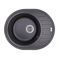 Кухонная гранитная мойка  овальная (620x500 мм), одночашевая, цвет черный (GFBLA03615500200)