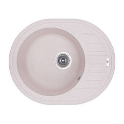 Кухонная гранитная мойка  овальная (620x500 мм), одночашевая, цвет песок (GFCOL06615500200)