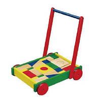 Ходунки-каталка Viga Toys Тележка с кубиками (50306B)