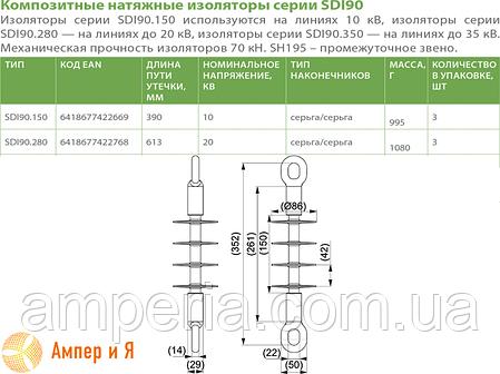 Изолятор натяжной композитный SDI90.150 ENSTO, фото 2