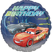 """Фольговані кульки з малюнком """"Happy Birthday Тачки"""""""