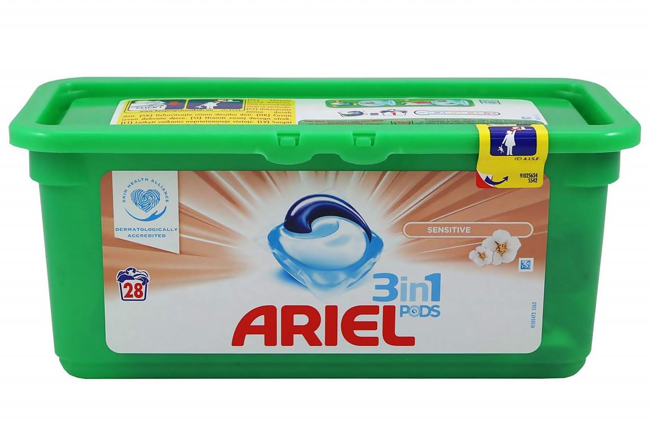 Капсулы для стирки ARIEL 3 в 1 Sensitive 28 шт