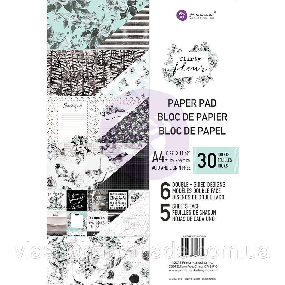 Набір двостороннього паперу - Flirty Fleur - Prima Marketing - А4 Ціна за 1/5 набору!!!
