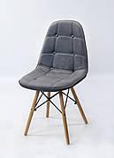Стілець в скандинавському стилі оббивка оксамит Alex ,колір сірий В-3