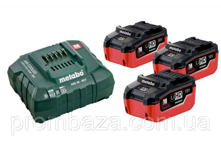 Базовый комплект Metabo LiHD 5,5 Ач, 18 В, 3 акб, фото 2