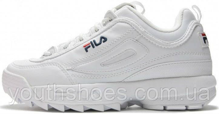"""Кроссовки мужские/женские кожаные Fila Disruptor 2 White """"Белые"""" фила р. 36-44, фото 1"""