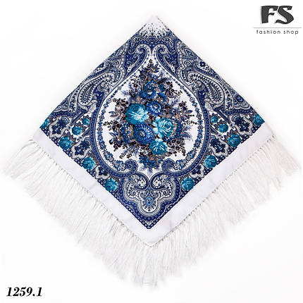 Павлопосадский белый  платок Миндаль, фото 2