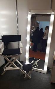Зеркало гримерное,  зеркало в белой деревянной раме