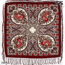 Павлопосадский бордовый  платок Миндаль, фото 3