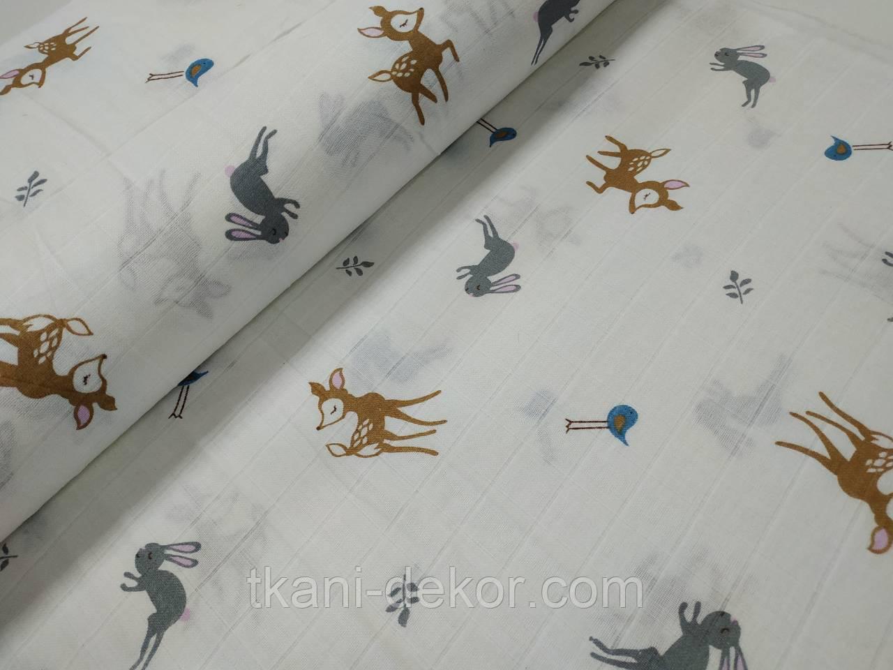 Муслин (хлопковая ткань) бемби и лесные звери (ширина 1,2 м)