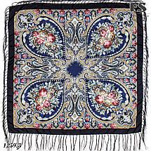 Павлопосадский синий  платок Миндаль, фото 2