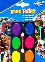Краски для лица для грима боди-арта неоновые 6 шт