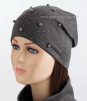 Двойная трикотажная шапка Бусы темно-серая