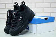 """Кроссовки мужские/женские кожаные Fila Disruptor 2 Black """"Полностью черные"""" фила р. 36-44, фото 1"""