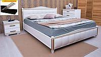 Кровать двуспальная Олимп Прованс кожзам квадраты + патина с механизмом