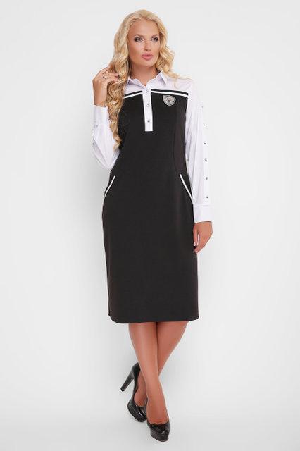 Женское платье Хатия черное / размер 52-58 / для полных девушек