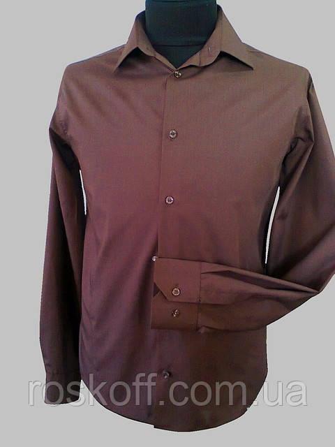 Приталенная рубашка коричневая