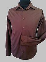 Приталенная рубашка коричневая, фото 1