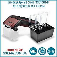 Бинокулярные лупы очки MG81001-B (1,7x-6x) c Led подсветкой