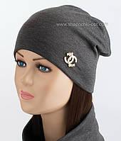 Трикотажная двойная шапочка Шанель с жемчугом темно-серая