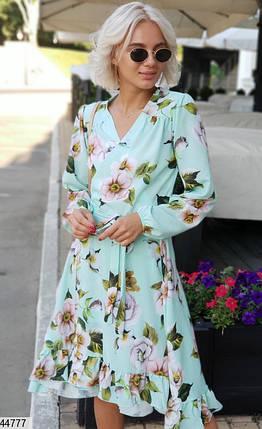 Красивое платье на запах миди полуоблегающее длинный рукав мятное в крупный цветок, фото 2