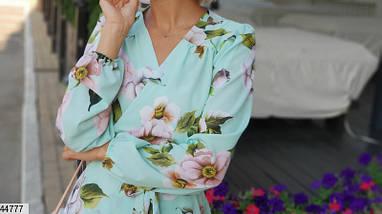 Красивое платье на запах миди полуоблегающее длинный рукав мятное в крупный цветок, фото 3