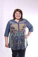 """Рубашка больших размеров """"Мила"""" хаки."""