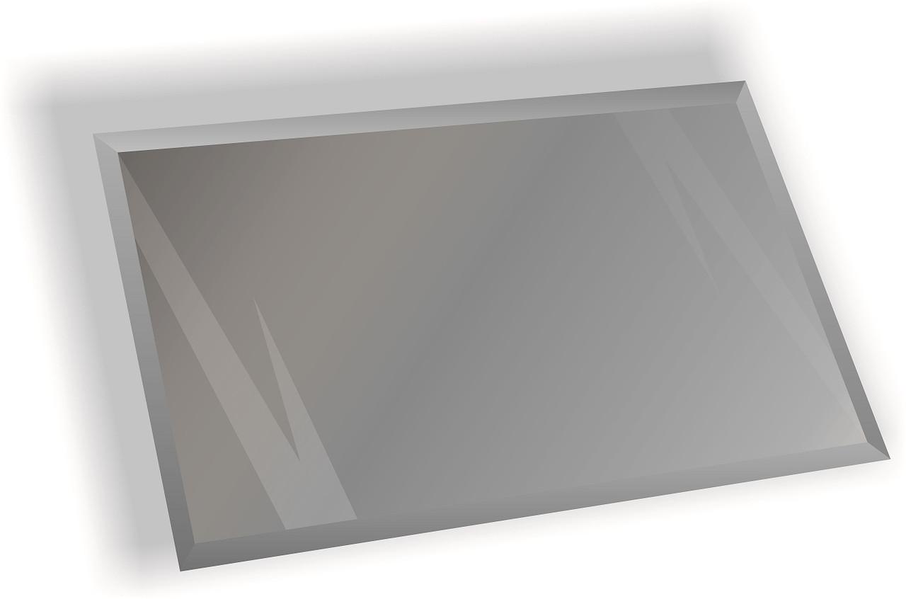 Зеркальная плитка НСК прямоугольник 450х600 мм фацет 15 мм серебро (натуральный цвет зеркала), фото 1