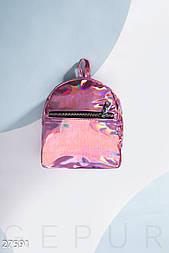 Розовая лаковая сумка-рюкзак