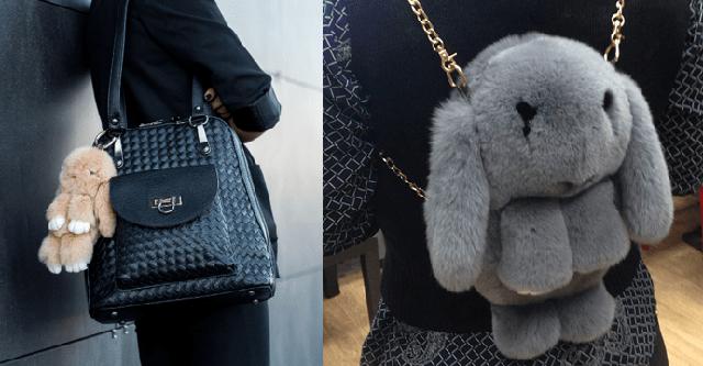 Меховые брелоки, сумки, рюкзаки