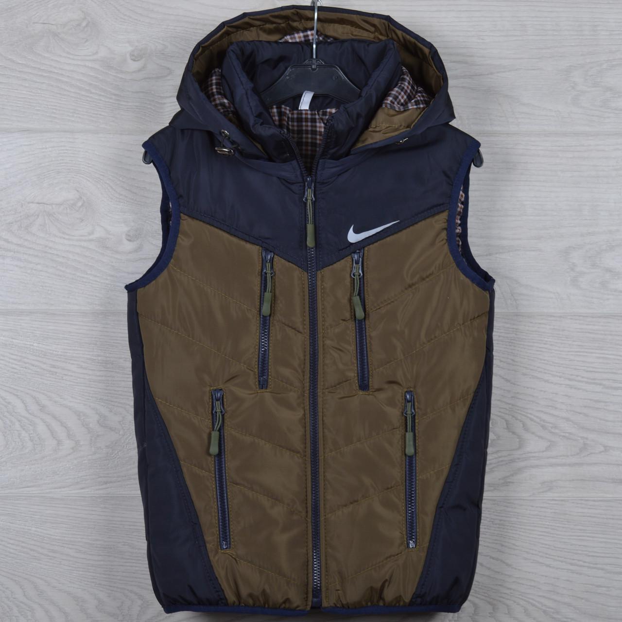 """Жилетка подростковая """"Nike реплика"""" 8-9-10-11-12 лет (128-152 см). Темно-синяя+коричневый. Оптом., фото 1"""