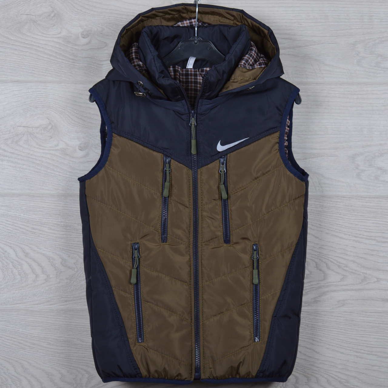 """Жилетка подростковая """"Nike реплика"""" 8-9-10-11-12 лет (128-152 см). Темно-синяя+коричневый. Оптом."""